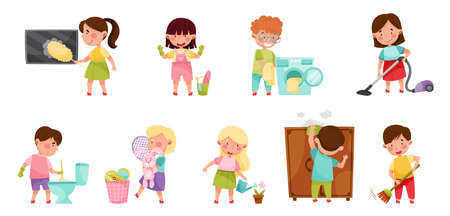 Kid Characters Cleaning Room and Doing Household Chores Vector Illustration Set