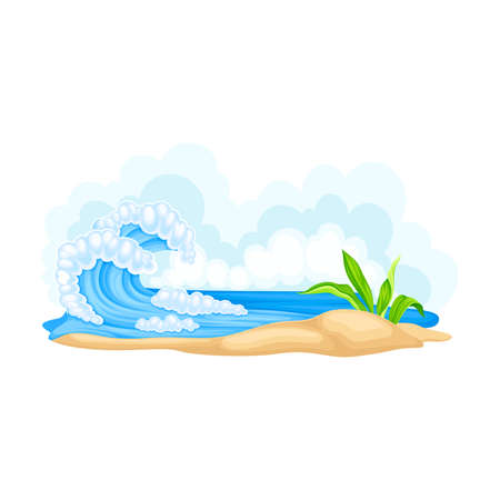 Sea Shore with Water Waves as California Beach Vector Illustration