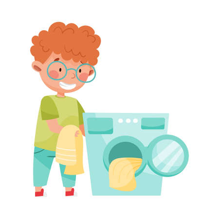 Little Boy Doing Laundry in Washing Machine Vector Illustration