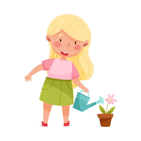 Cute Girl Engaged in Watering Flower Vector Illustration