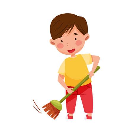Little Boy Sweeping the Floor with Broom Vector Illustration Vector Illustratie