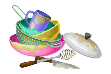 Dirty Utensils and Dishes Piled for Washing Up Vector Illustration Ilustração