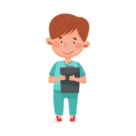 Smiling Boy in Medical Wear Standing and Holding Clip Board Vector Illustration