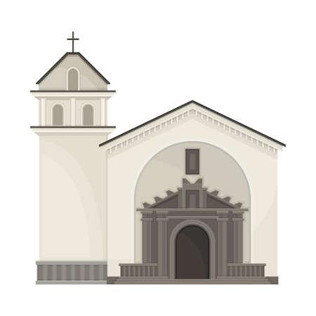 Local Church Building as Ecuador Attribute Vector Illustration Vector Illustration