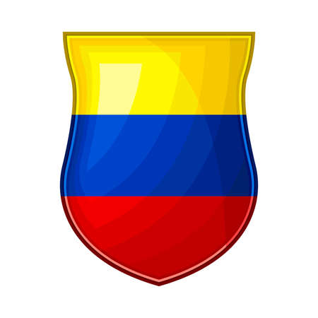 Metal Ecuador Badge with National Colors Vector Illustration