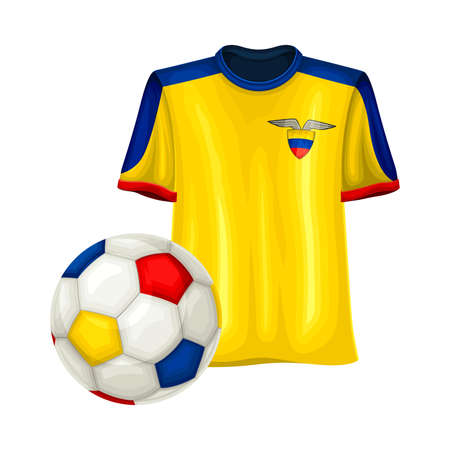 Football Team Sweatshirt with Ecuador Colors as Sportive Clothing and Ball Vector Illustration