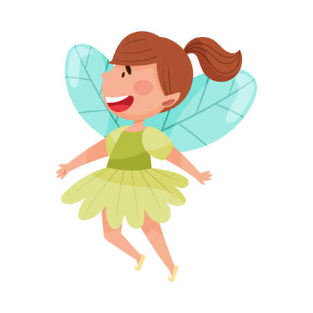Little Fairy or Pixie with Wings Hovering Vector Illustration Stock Illustratie
