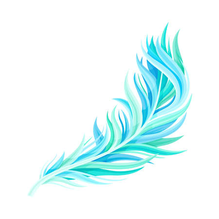 Blue Bird Feather with Nib as Avian Plumage Vector Illustration