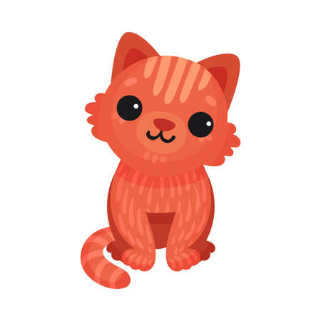 Red Cat in Sitting Pose as Domestic Animal Vector Illustration