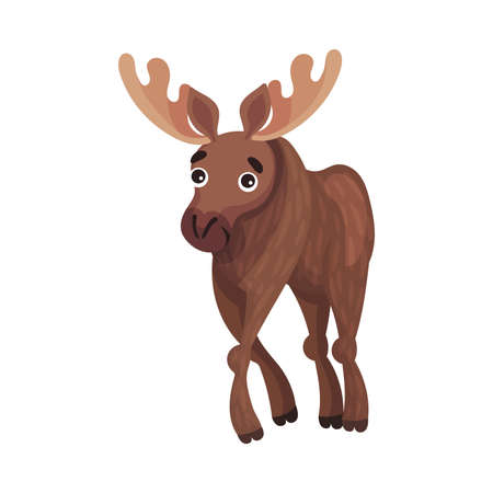 Horned Brown Elk as Herbivore Forest Animal Vector Illustration