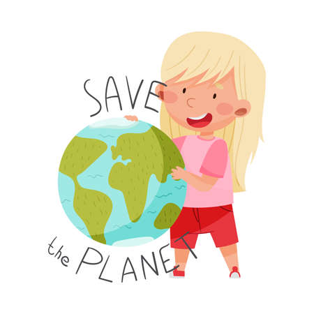 Little Girl Embracing Globe Sphere as Protection Sign Vector Illustration