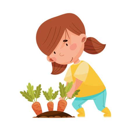 Little Girl Planting Carrot in Soil Vector Illustration Illusztráció