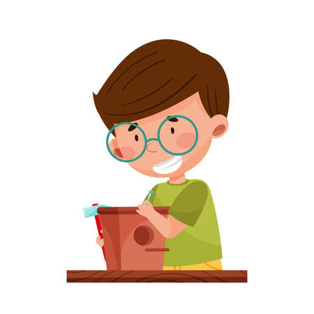Cute Boy Crafting Wooden Bird Feeder Vector Illustration