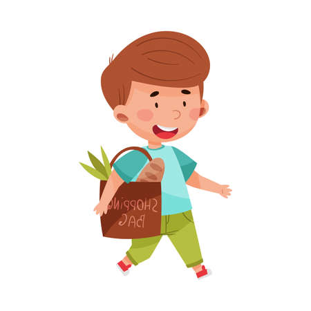 Smiling Boy Walking with Eco Friendly Shopping Bag Vector Illustration Stock fotó - 154694273