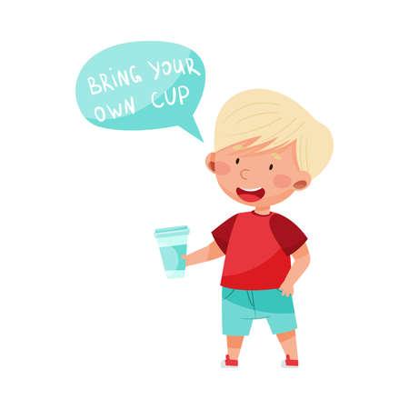 Little Boy Holding His Own Cup Vector Illustration Illusztráció
