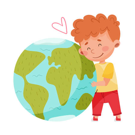 Little Boy Embracing Globe Sphere as Protection Sign Vector Illustration