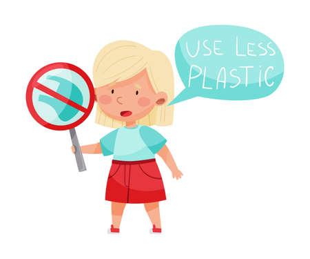 Little Girl Holding Sign Protest Against Plastic Usage Vector Illustration
