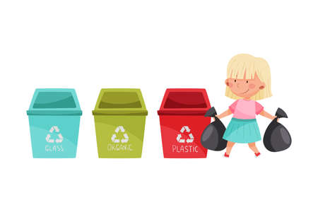 Cute Girl Sorting Trash and Garbage for Recycling Vector Illustration