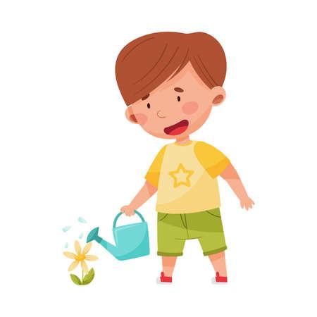 Little Boy Watering Flower for Planting and Vegetation Vector Illustration