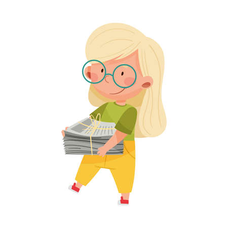 Cute Girl Carrying Pile of Newspaper for Recycling Vector Illustration