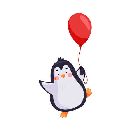 Adorable Penguin with Red Cheeks Holding Balloon Vector Illustration