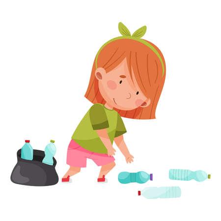 Cute Girl Gathering Plastic Bottles for Recycling Vector Illustration Stock fotó - 154694317