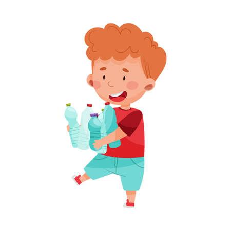 Cute Boy Gathering Plastic Bottles for Recycling Vector Illustration Stock fotó - 154694322