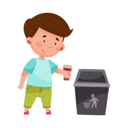 Cute Boy Throwing Cup into Trash Bin Vector Illustration