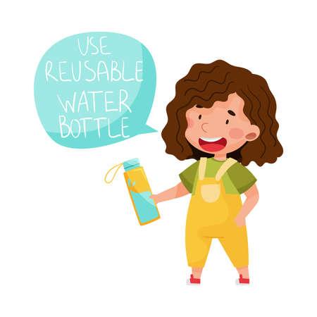 Little Girl Holding Reusable Water Bottle Vector Illustration Stock fotó - 154694324