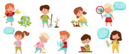 Kid Characters Gathering Plastic Bottles and Planting Vector Set Ilustración de vector
