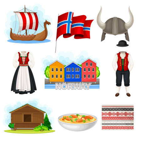 Norway Attributes with Flag on Pole and Colorful Houses Vector Set