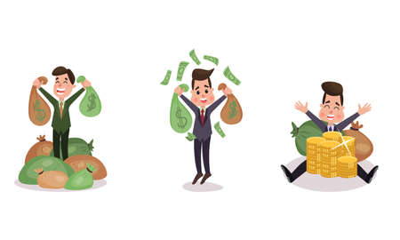 Rich Businessman Character Sitting on Money Bags Vector Illustration Set