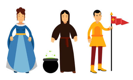 Medieval People Characters with Court Lady and Witch Vector Illustration Set