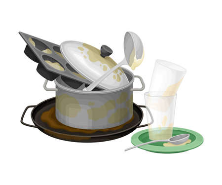 Pile of Dirty Dishes and Utensils with Saucepan and Glasses Vector Illustration