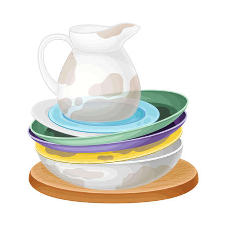 Pile of Dirty Dishes and Utensils with Plates and Glass Jug Vector Illustration
