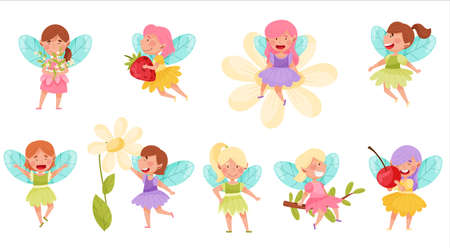 Little Fairies or Pixies with Wings Hovering and Flying Vector Illustration Set Stock Illustratie