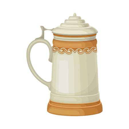 Oktoberfest Mug or German Stein with Lid Vector Illustration Çizim