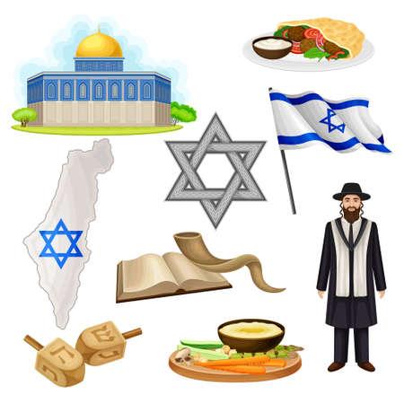 Israeli or Jewish Attributes with Dome of the Rock and Star of David Vector Set Vektoros illusztráció