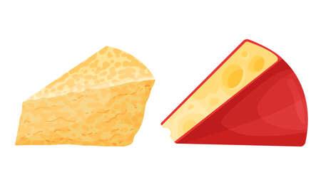 Cheese Slabs as Fresh Milk Food Vector Set