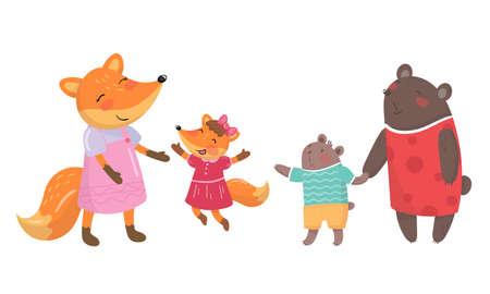 Cartoon Animal Parent with Baby or Cub Vector Set