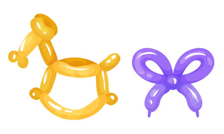 Bright Animal Figures Made of Balloon Vector Set