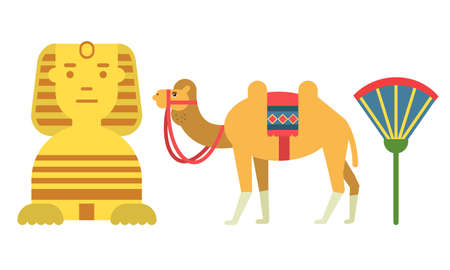 Egypt Attributes with Camel and Androsphinx Vector Set Иллюстрация