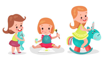 Baby Girls Sitting on Floor Drawing and Playing with Toys Vector Illustration Set