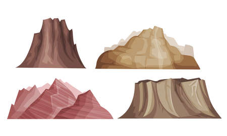 Mountain Peaks and Rocky Hill with Ridges Vector Set