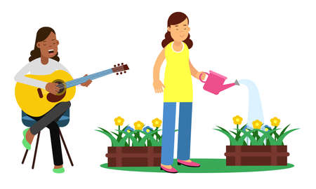 Young Woman Playing Guitar and Watering Flowers Vector Illustration Set Illustration