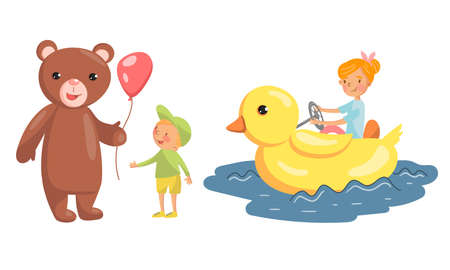 Bear Giving Balloon to Boy and Girl Riding Duck Vector Illustration Set