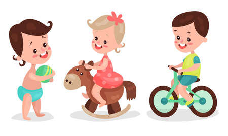 Baby Girl and Boy Playing with Ball and Riding Bicycle Vector Illustration Set