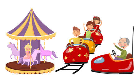Girl Character Riding Horse Merry-go-round and Boys Riding Rollercoaster Vector Illustration Set