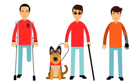 Disabled People Characters Getting Help and Assistance Vector Illustration Set
