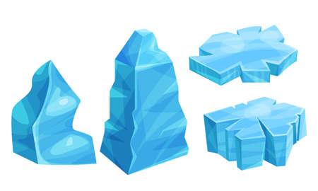 Ice Pieces or Cold Frozen Blocks Vector Set Vector Illustratie